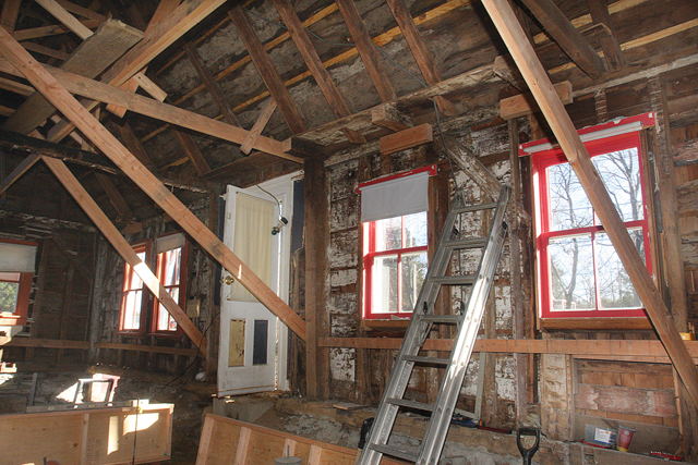 The interior of the 900-square-foot house in Southold has been gutted. (Credit: Barbaraellen Koch)