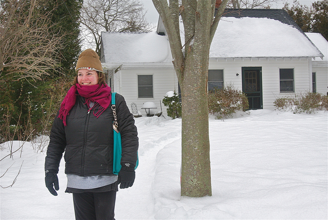 "Constance Riley in front of her mother's home on Rogers Road which was nicknamed the 'berry garden"" house. (Credit: Barbaraellen Koch)"