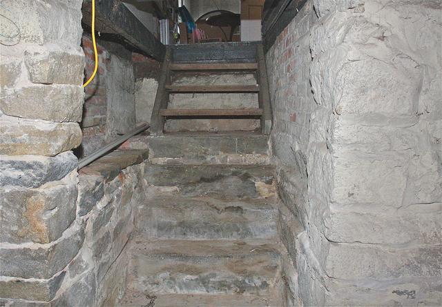 The stone foundation of the Davis-Corwin house. (Credit: Barbaraellen Koch)