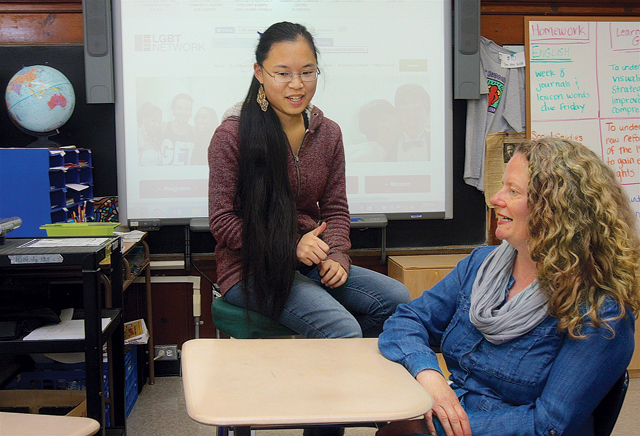 Mattituck High School junior McKenzi Murphy with special education teacher and Unity Club advisor Mary Roberts last Monday afternoon at the school. The club changed its name from Gay-Straight Alliance because it felt Unity Club was more inclusive, Ms. Roberts said. (Credit: Barbaraellen Koch)