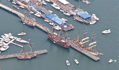 The Tall Ships in Greenport Harbor from an aerial view in  2012. (Peter Boody photo)
