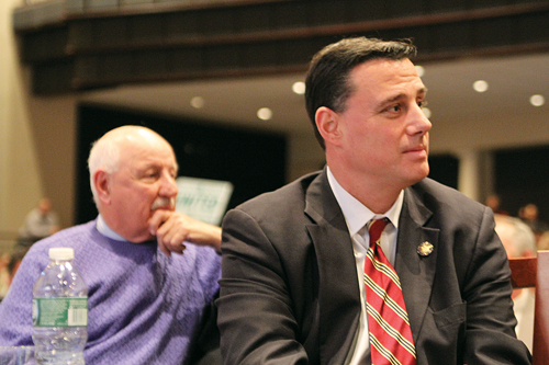 Assemblyman Anthony Palumbo (right) and Senator Ken LaValle at a Common Core forum last year in Eastport. (Credit: Carrie Miller, file)
