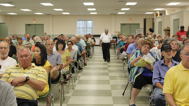 More than 200 North Fork residents upset by helicopter noise over their homes turned out Monday night for a forum in Southold. (Credit: Jennifer Gustavson)