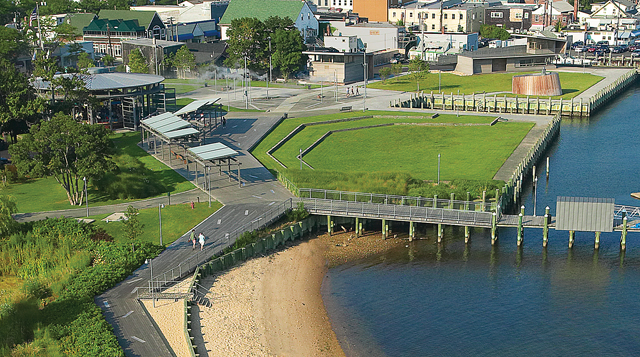 Designed by SHoP Architects in the late 1990s, Greenport's Mitchell Park features a harborwalk and marina, carousel pavilion and camera obscura. (Credit: Courtesy photo)