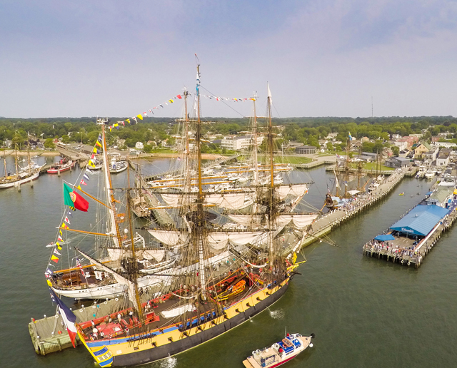 A view from above the 2015 Greenport Tall Ships Challenge Monday morning. (Credit: Andrew LePre/LePre Media)