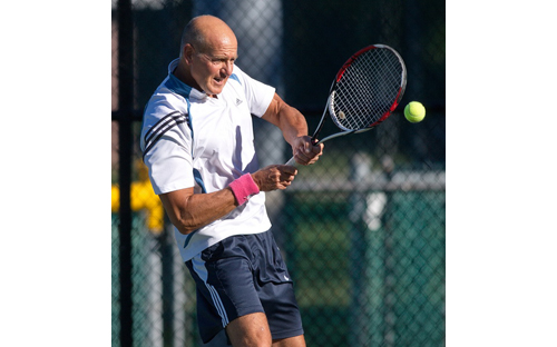 GARRET MEADE PHOTO | John Czartosieski, who had not played in the Bob Wall Memorial Tennis Tournament in about 15 years, won the men's 50-plus singles title.