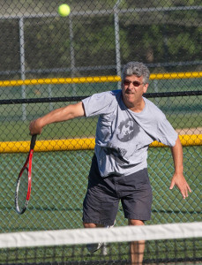 GARRET MEADE PHOTO | Richard Chizever's steady serving and 23 winners made John Czartosieski labor in the men's 50-plus singles final.