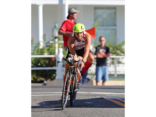 Tim Steiskal of Brookhaven fell short of winning the Riverhead Rocks Olympic Distance Triathlon for the fourth straight year on Sunday. He finished fourth. (Credit: Daniel De Mato)