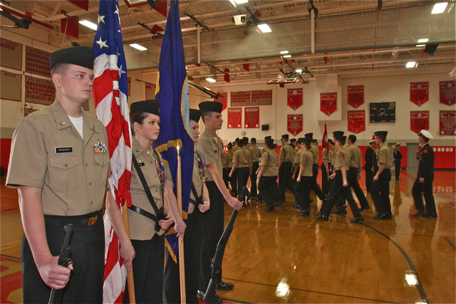 Southold-Mattituck-Greenport Navy Junior Reserve Officer Training Corps color guard.