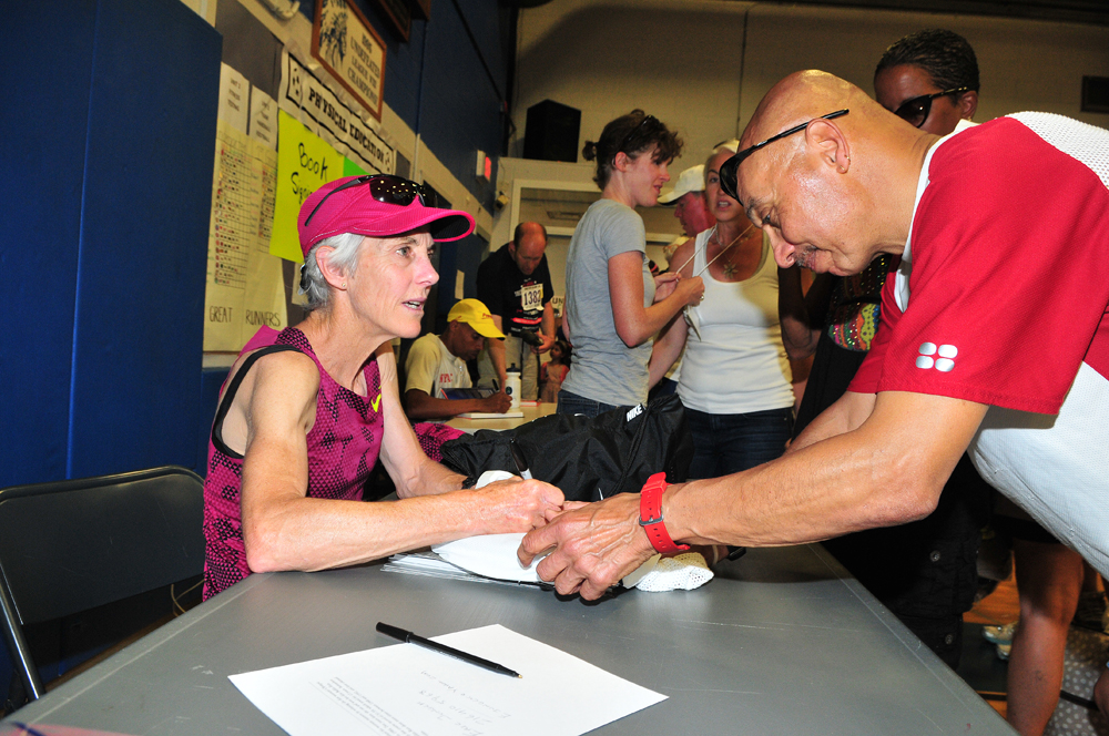 Joan Benoit Samuelson won a gold medal in marathon at the 1984 Olympics in Los Angeles. She is a regular at the Shelter Island 10K. (Credit: Bill Landon)