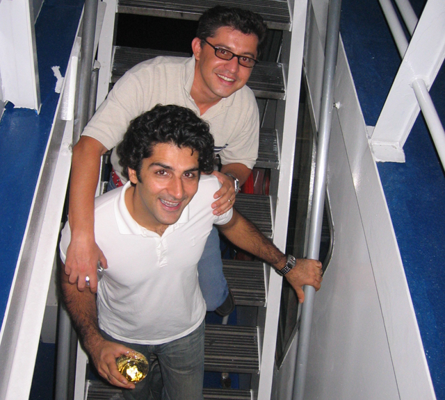 Zubair Khan in 2006 with his brother-in-law Umar Niazi. Mr. Khan was killed when his experimental plane crashed into the Long Island Sound near Mattituck. (Credit: Courtesy of Umar Niazi)