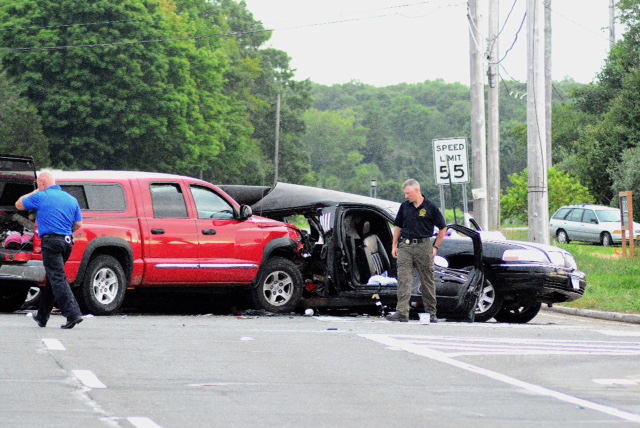 The aftermath of the fatal accident Saturday in Cutchogue. (Credit: AJ Ryan/Stringer News)