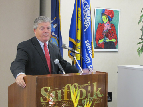 TIM GANNON PHOTO | Steve Bellone at Monday's breakfast in Riverhead.