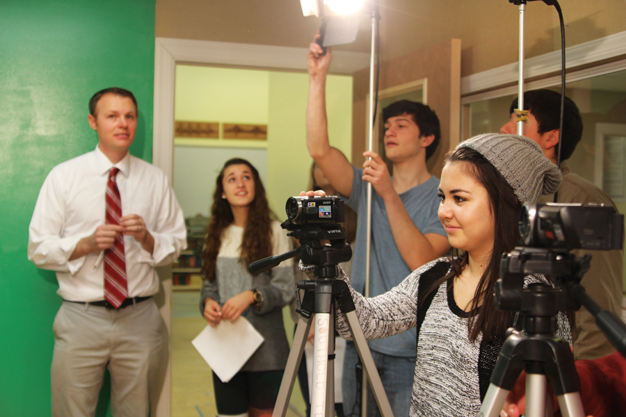 Southold High School student Kimiko Fujita records a student newscast Monday at the school. (Credit: Jen Nuzzo)