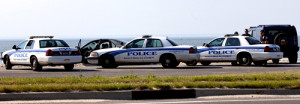 Crown Victoria cruisers at Town Beach in Southold. in May.(Credit: Katharine Schroeder)