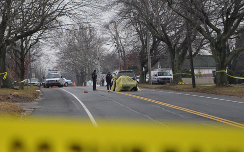 RACHEL YOUNG PHOTO | Police investigate the scene of a fatal accident Thursday morning in Laurel.