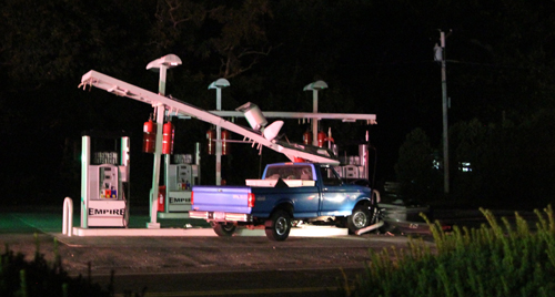The accident scene at Empire Gas in Mattituck Thursday night. (Credit: Jennifer Gustavson photos)