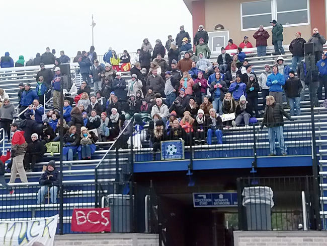 Mattituck fans at Middletown High School for Sunday's state championship game. (Credit: Michael Lewis)