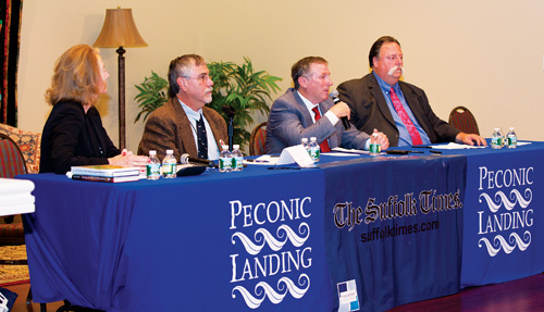 KATHARINE SCHROEDER PHOTO | Town board candidates debate winery regulation and deer management during Tuesday's forum.