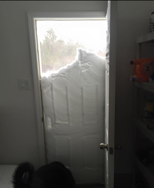Andrew Dzenkowski woke up to quite the view outside his door today in East Marion. (Credit: courtesy photo)