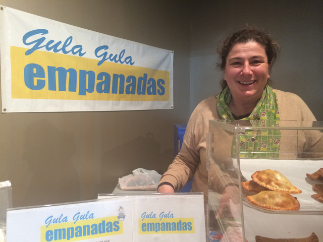 Luchi Masliah of Gula Gula Empanads at the Riverhead Farmers Market on Saturday. (Credit: Vera Chinese)