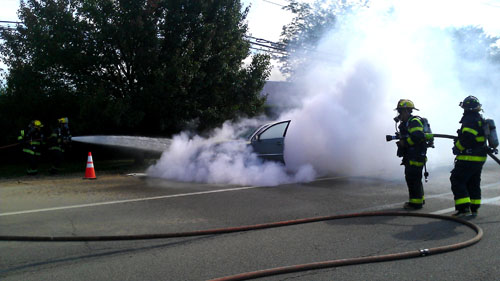CREDIT CUTCHOGUE FIRE DEPARTMENT | A car fire on Monday afternoon shut down Route 48.