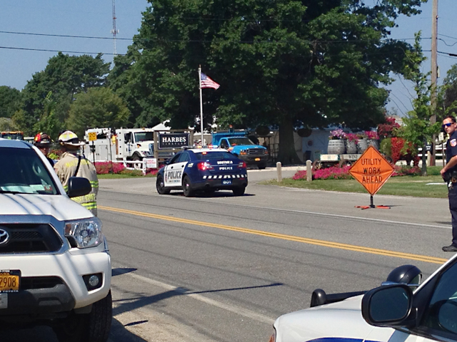 The gas leak occurred near where utility work was being done near Sound Avenue. (Credit: Joe Werkmeister)
