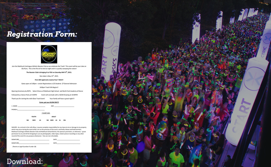 The NOFO Glow registration page online.