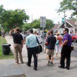 The group of new teachers walked down Front Street during Wednesday's bus tour. (Credit: Nicole Smith)