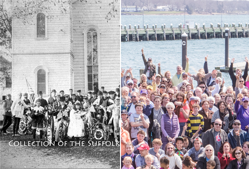 A group photo of Greenport residents from circa 1890 and last Sunday. (Credit: Suffolk County Historical Society/Katharine Schroeder)