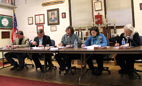 Greenport Village Board members Monday night. (Carrie Miller photo)