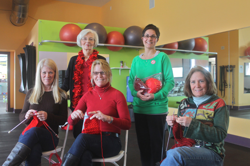 "PAUL SQUIRE PHOTO | (L-R) Susan Kaytis, Peggy Sanesky, Jane McGoldrick, Sarah Sirico and Darlene Weaver take part in Sunday's ""Knit-In"" in Southold."