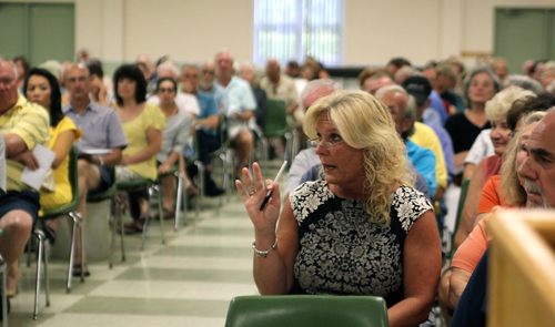 Teresa McCaskie, of Mattituck, called for the shut down of East Hampton airport if a solution to noise couldn't be reached. (Jennifer Gustavson photo)
