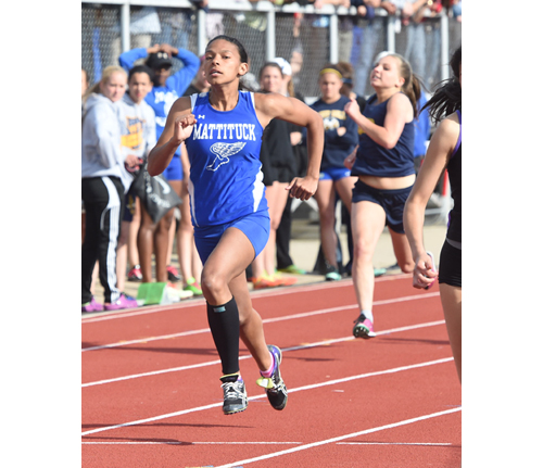 Mattituck senior Desirae Hubbard competes in the 200-meter dash at the Division Championships last month at Connetquot High School. A new track is scheduled to be installed at Mattituck. (Credit: Robert O'Rourk)