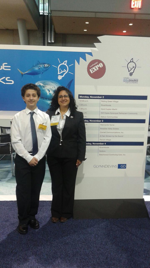 JoAnn Termini-Pira and her son, Tyler Pira, at the Idea Sharks competition earlier this month (Credit: Courtesy).