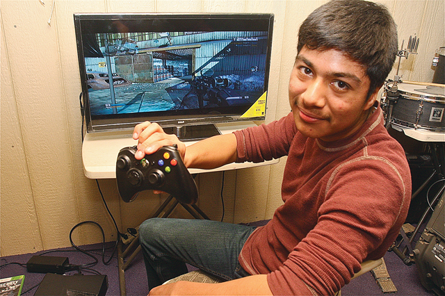Jeffrey Avilas Ramos, a Mattituck High School junior, competes in eSports called Major League Gaming playing mostly Call of Duty. (Credit: Barbaraellen Koch)