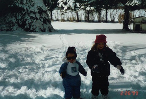 Jimmy and Sama Koslosky play in a snowstorm in February 1999. It was the only time Jimmy ever had the chance to play in the snow, his mother said. (Credit: Koslosky family, courtesy)