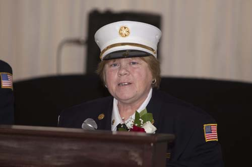 Southold Fire Department Chief Peggy Killian during Sunday night's annual awards and installation dinner. (Credit: Katharine Schroeder)