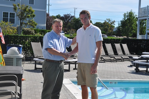 CYNDI MURRAY PHOTO   Lifeguard Mike Liegey, right, will be honored by the NY Islanders after a save in September.