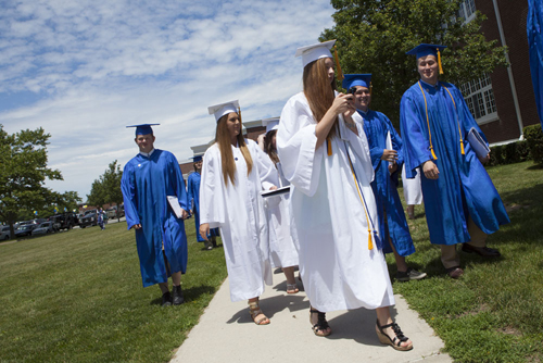 Students at Mattituck High School celebrated the centennial graduation Saturday morning. (Credit: Katharine Schroeder)