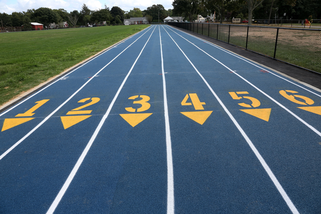 The newly completed Mattituck High School track features six lanes. (Credit: Garret Meade)