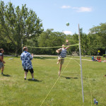 Members of the Class of 2016 play volleyball during their study hall.