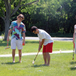 Seniors play a round of croquet Thursday morning.