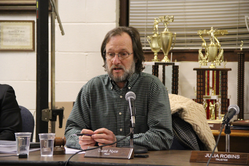 CARRIE MILLER FILE PHOTO | Greenport Mayor David Nyce discussing the electric penalty fee and other billing problems at Monday night's Village Board meeting.