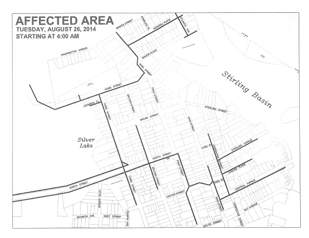 The area that will be impacted by Tuesday's scheduled power outage.