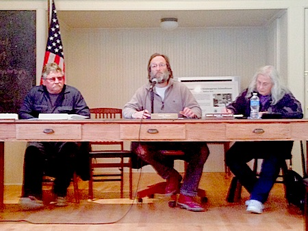 Greenport Village Mayor David Nyce (center) discussing his proposed spending plan  at the Little Red Schoolhouse earlier this month. (Credit: Cyndi Murray)
