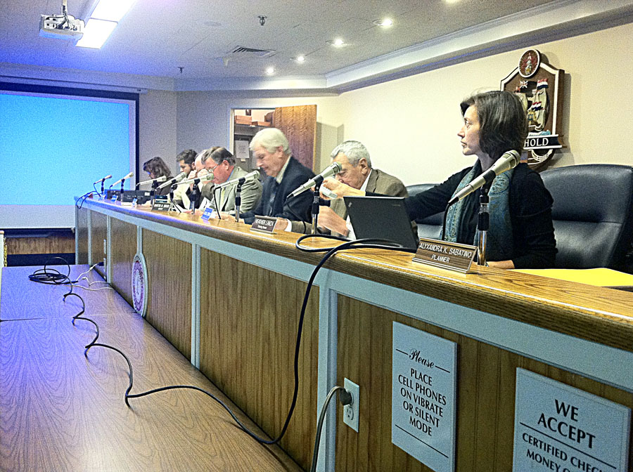 Town planning director Heather Lanza (right) and Planning Board members during Monday's meeting. (Credit: Michael White)