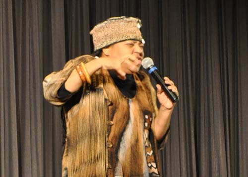 Storyteller and teaching artist Queen Nur in Greenport Friday. | Rachel Young