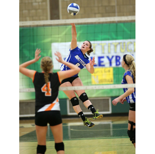 Mattituck middle hitter Emilie Reimer led the Tuckers to a Long Island championship win over East Rockaway Sunday. (Credit: Garret Meade)