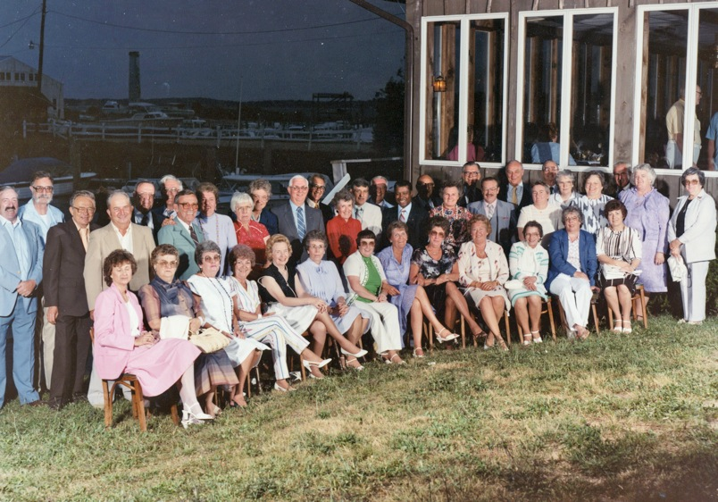 Members of the Greenport class of 1945 at their 40th reunion in 1985. (Credit: Courtesy)